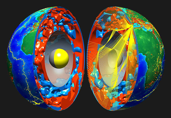 A computer simulation of the earth cut in half, showing the core